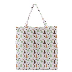 Reindeer Christmas Tree Jungle Art Grocery Tote Bag by patternstudio