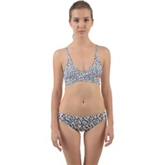Wavy Intricate Seamless Pattern Design Wrap Around Bikini Set by dflcprints