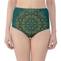 Snow Flower In A Calm Place Of Eternity And Peace High Waist Bikini Bottoms by pepitasart
