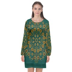 Snow Flower In A Calm Place Of Eternity And Peace Long Sleeve Chiffon Shift Dress