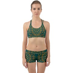 Snow Flower In A Calm Place Of Eternity And Peace Back Web Sports Bra Set by pepitasart