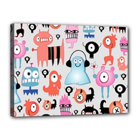 Funky Monsters Pattern Canvas 16  X 12  by allthingseveryday