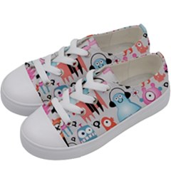 Funky Monsters Pattern Kids  Low Top Canvas Sneakers by allthingseveryday