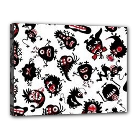 Goofy Monsters Pattern  Canvas 16  X 12