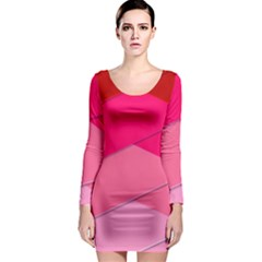 Geometric Shapes Magenta Pink Rose Long Sleeve Bodycon Dress by Celenk
