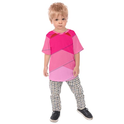 Geometric Shapes Magenta Pink Rose Kids Raglan Tee by Celenk
