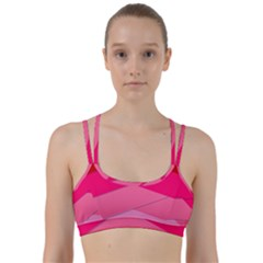 Geometric Shapes Magenta Pink Rose Line Them Up Sports Bra by Celenk