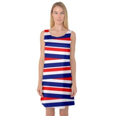 Red White Blue Patriotic Ribbons Sleeveless Satin Nightdress by Celenk