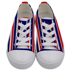 Red White Blue Patriotic Ribbons Kids  Low Top Canvas Sneakers