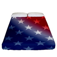 America Patriotic Red White Blue Fitted Sheet (queen Size) by Celenk