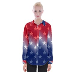 America Patriotic Red White Blue Womens Long Sleeve Shirt