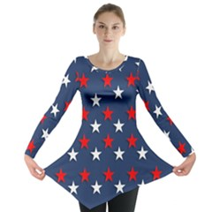 Patriotic Colors America Usa Red Long Sleeve Tunic