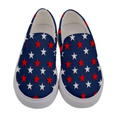 Patriotic Colors America Usa Red Women s Canvas Slip Ons