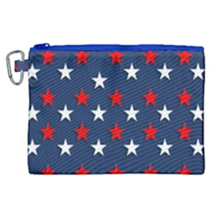 Patriotic Colors America Usa Red Canvas Cosmetic Bag (xl) by Celenk