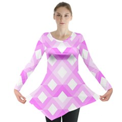 Geometric Chevrons Angles Pink Long Sleeve Tunic