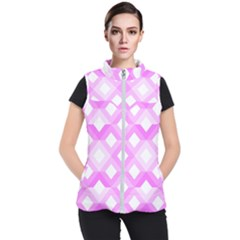 Geometric Chevrons Angles Pink Women s Puffer Vest