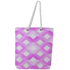 Geometric Chevrons Angles Pink Full Print Rope Handle Tote (large)