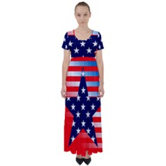 Patriotic American Usa Design Red High Waist Short Sleeve Maxi Dress