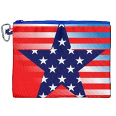Patriotic American Usa Design Red Canvas Cosmetic Bag (xxl) by Celenk