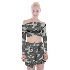 Camouflage Pattern Disguise Army Off Shoulder Top With Mini Skirt Set by Celenk