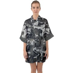 Camouflage Pattern Disguise Army Quarter Sleeve Kimono Robe by Celenk