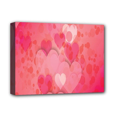 Pink Hearts Pattern Deluxe Canvas 16  X 12