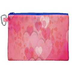 Pink Hearts Pattern Canvas Cosmetic Bag (xxl)