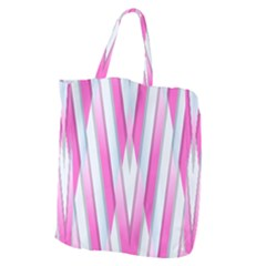 Geometric 3d Design Pattern Pink Giant Grocery Zipper Tote by Celenk