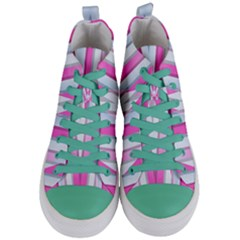 Geometric 3d Design Pattern Pink Women s Mid Top Canvas Sneakers