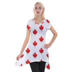 Maple Leaf Canada Emblem Country Short Sleeve Side Drop Tunic