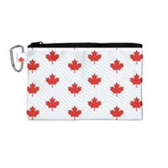 Maple Leaf Canada Emblem Country Canvas Cosmetic Bag (medium) by Celenk