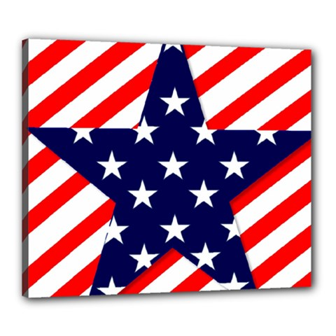 Patriotic Usa Stars Stripes Red Canvas 24  X 20  by Celenk