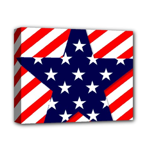 Patriotic Usa Stars Stripes Red Deluxe Canvas 14  x 11