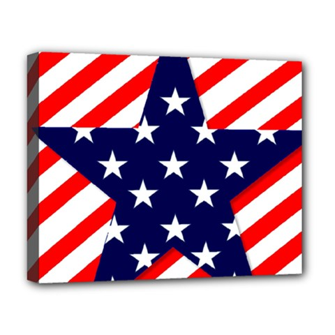 Patriotic Usa Stars Stripes Red Deluxe Canvas 20  x 16
