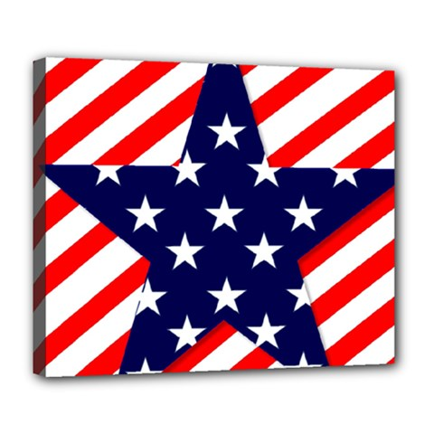 Patriotic Usa Stars Stripes Red Deluxe Canvas 24  x 20