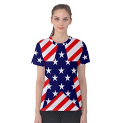 Patriotic Usa Stars Stripes Red Women s Cotton Tee