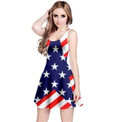 Patriotic Usa Stars Stripes Red Reversible Sleeveless Dress