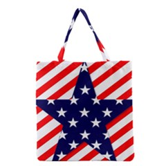 Patriotic Usa Stars Stripes Red Grocery Tote Bag