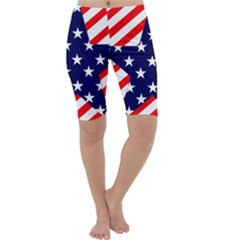 Patriotic Usa Stars Stripes Red Cropped Leggings