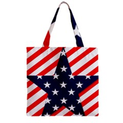 Patriotic Usa Stars Stripes Red Zipper Grocery Tote Bag