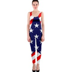 Patriotic Usa Stars Stripes Red OnePiece Catsuit