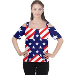 Patriotic Usa Stars Stripes Red Cutout Shoulder Tee
