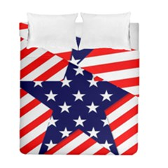 Patriotic Usa Stars Stripes Red Duvet Cover Double Side (Full/ Double Size)