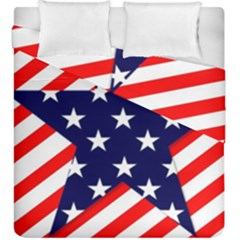 Patriotic Usa Stars Stripes Red Duvet Cover Double Side (King Size)