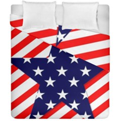 Patriotic Usa Stars Stripes Red Duvet Cover Double Side (California King Size)