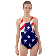 Patriotic Usa Stars Stripes Red Cut-Out Back One Piece Swimsuit