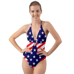 Patriotic Usa Stars Stripes Red Halter Cut-Out One Piece Swimsuit