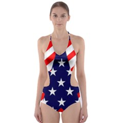 Patriotic Usa Stars Stripes Red Cut-Out One Piece Swimsuit