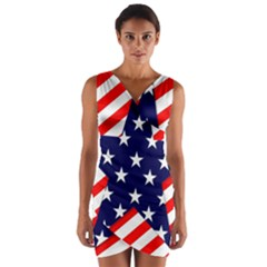 Patriotic Usa Stars Stripes Red Wrap Front Bodycon Dress