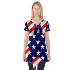 Patriotic Usa Stars Stripes Red Short Sleeve Tunic